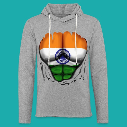India Flag Ripped Muscles, six pack, chest t-shirt - Light Unisex Sweatshirt Hoodie