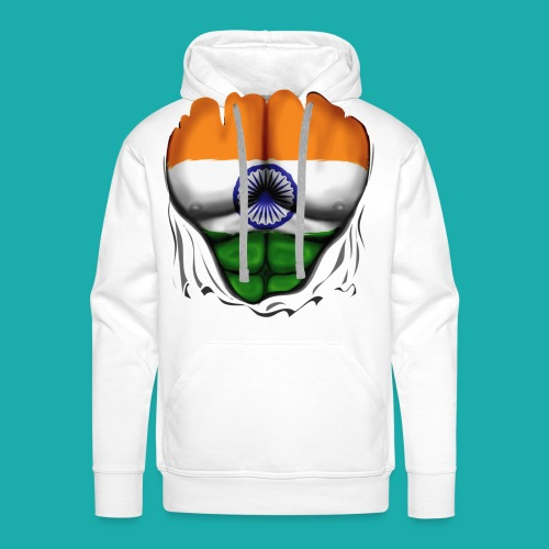 India Flag Ripped Muscles, six pack, chest t-shirt - Men's Premium Hoodie