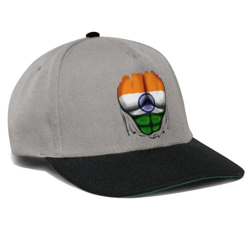 India Flag Ripped Muscles, six pack, chest t-shirt - Snapback Cap