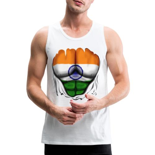 India Flag Ripped Muscles, six pack, chest t-shirt - Men's Premium Tank Top