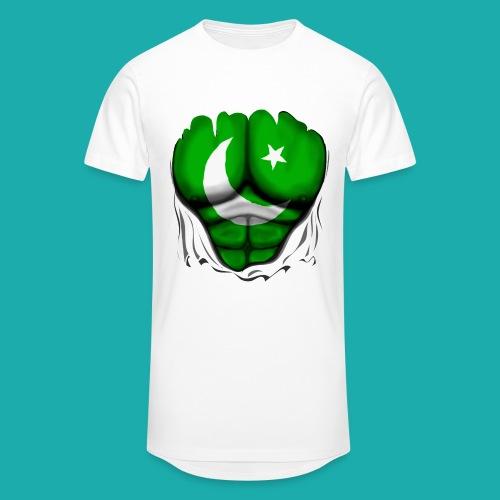 Pakistan Flag Ripped Muscles, six pack, chest t-shirt - Men's Long Body Urban Tee