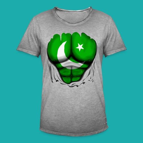 Pakistan Flag Ripped Muscles, six pack, chest t-shirt - Men's Vintage T-Shirt
