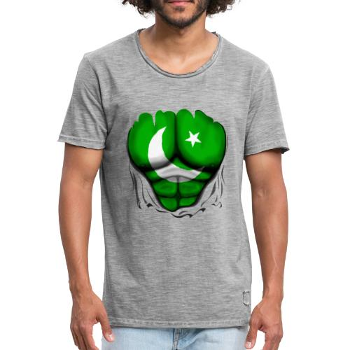 Pakistan Flag Ripped Muscles, six pack, chest t-shirt - Men's Vintage T-Shirt