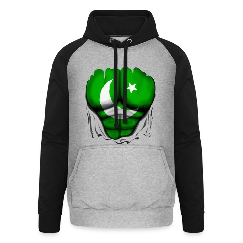 Pakistan Flag Ripped Muscles, six pack, chest t-shirt - Unisex Baseball Hoodie