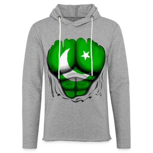 Pakistan Flag Ripped Muscles, six pack, chest t-shirt - Light Unisex Sweatshirt Hoodie