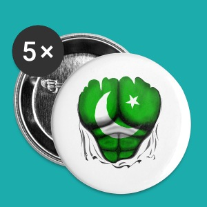 Pakistan Flag Ripped Muscles, six pack, chest t-shirt - Buttons small 25 mm