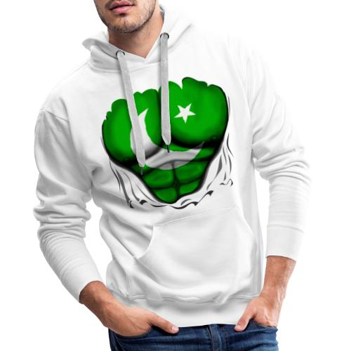 Pakistan Flag Ripped Muscles, six pack, chest t-shirt - Men's Premium Hoodie