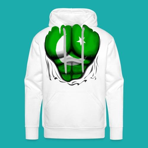 Pakistan Flag Ripped Muscles, six pack, chest t-shirt - Men's Premium Hoodie