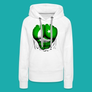 Pakistan Flag Ripped Muscles, six pack, chest t-shirt - Women's Premium Hoodie