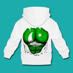 Pakistan Flag Ripped Muscles, six pack, chest t-shirt - Kids' Premium Hoodie