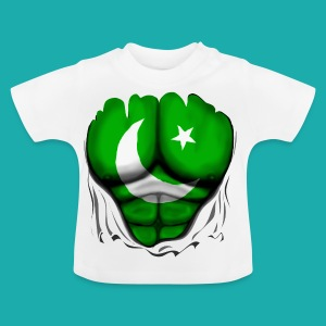Pakistan Flag Ripped Muscles, six pack, chest t-shirt - Baby T-Shirt