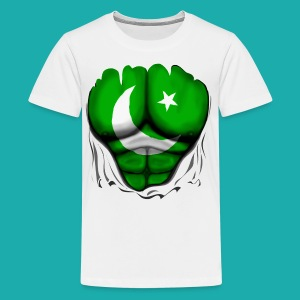 Pakistan Flag Ripped Muscles, six pack, chest t-shirt - Teenage Premium T-Shirt
