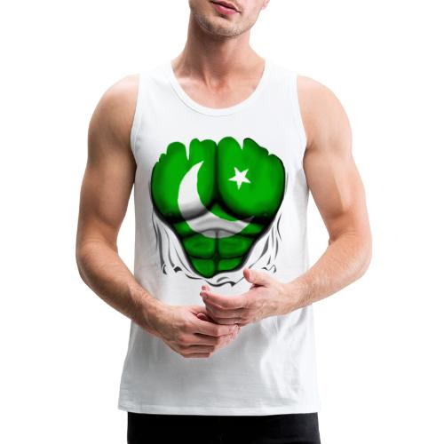 Pakistan Flag Ripped Muscles, six pack, chest t-shirt - Men's Premium Tank Top