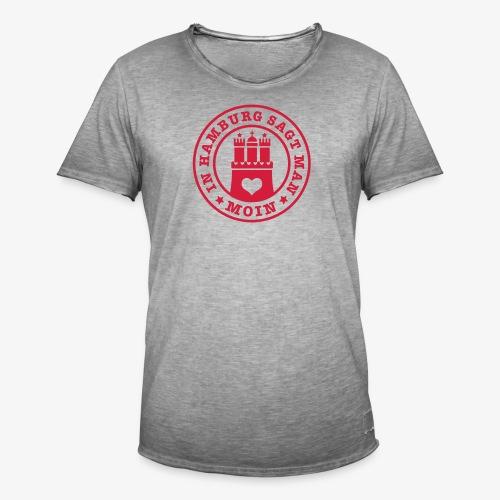 In HAMBURG sagt man MOIN / Wappen Button Anstecker - Männer Vintage T-Shirt
