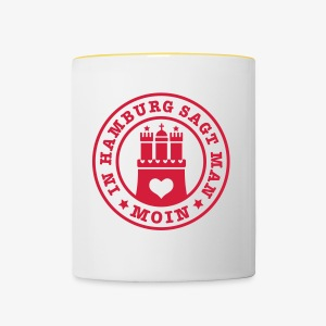 In HAMBURG sagt man MOIN / Wappen Button Anstecker - Tasse zweifarbig