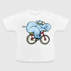 The Hippo rides a bike Kids' Shirts - Baby T-Shirt