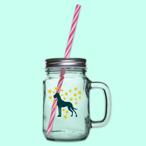Doggen Tasse - Danes Mug - Henkelglas mit Schraubdeckel