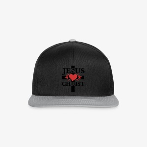 Jesus Christ / Cross + Heart Jesus Christus Männer T-Shirt - Snapback Cap