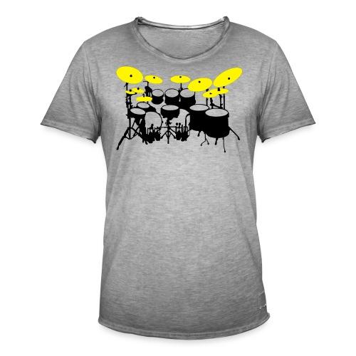 Drums White - Maglietta vintage da uomo
