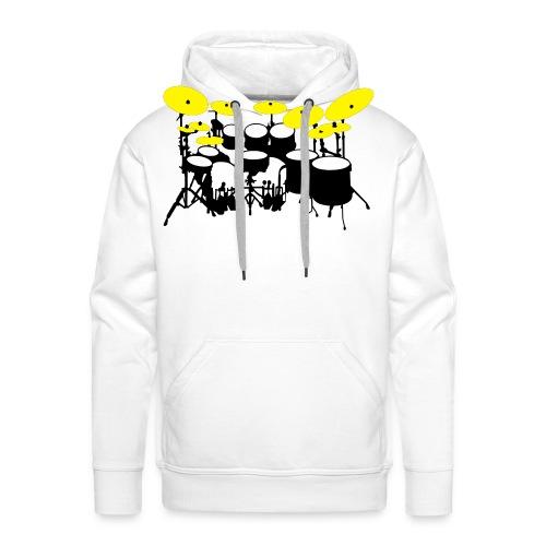 Drums White - Felpa con cappuccio premium da uomo