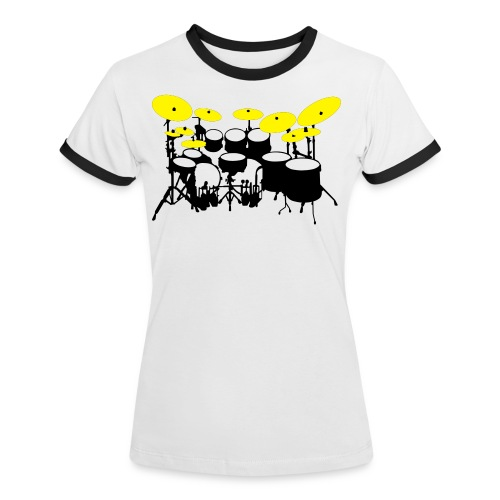 Drums White - Maglietta Contrast da donna