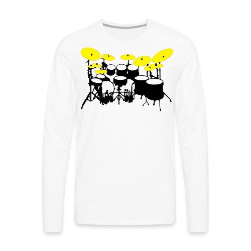 Drums White - Maglietta Premium a manica lunga da uomo