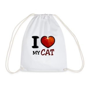 Sac de sport léger - I,I love,Love,cat,chat,chatte,coeur,cup,heart,my cat,tasse