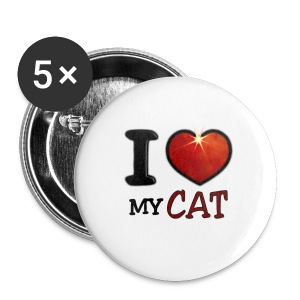 Badge petit 25 mm - I,I love,Love,cat,chat,chatte,coeur,cup,heart,my cat,tasse
