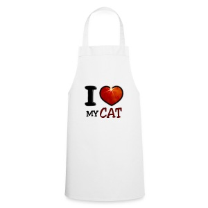Tablier de cuisine - I,I love,Love,cat,chat,chatte,coeur,cup,heart,my cat,tasse