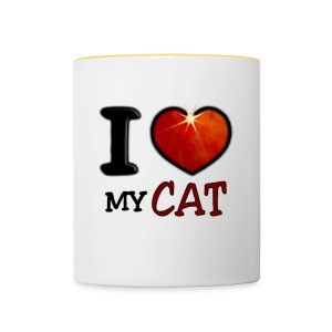 Tasse bicolore - I,I love,Love,cat,chat,chatte,coeur,cup,heart,my cat,tasse