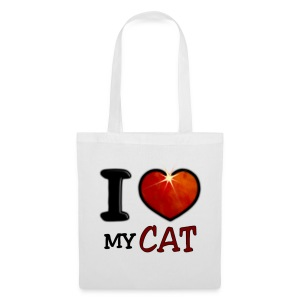 Tote Bag - I,I love,Love,cat,chat,chatte,coeur,cup,heart,my cat,tasse