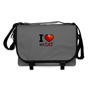 Sac à bandoulière - I,I love,Love,cat,chat,chatte,coeur,cup,heart,my cat,tasse