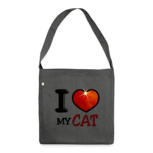 Sac bandoulière 100 % recyclé - I,I love,Love,cat,chat,chatte,coeur,cup,heart,my cat,tasse