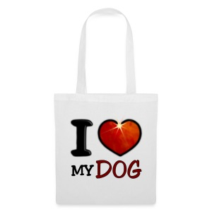 Tote Bag - I,I love,Love,chien,chiens,coeur,cup,dog,heart,tasse