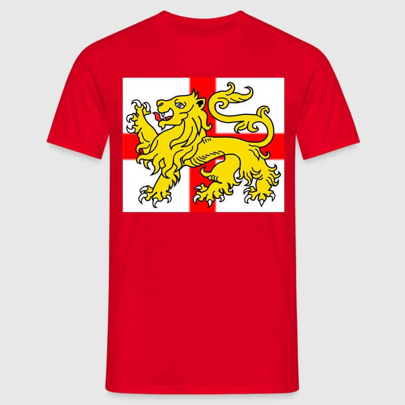 English Lion Passant on St George's Cross Flag - Men's T-Shirt