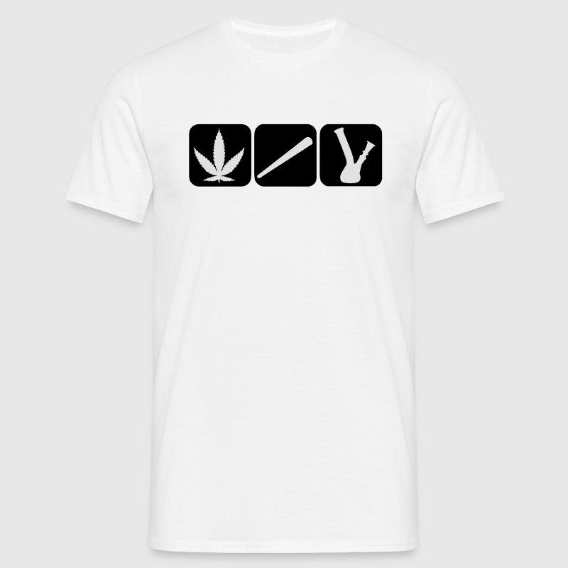Le cannabis chanvre conjointe sac feuille, bong pipe à eau Tee shirts - T-shirt Homme