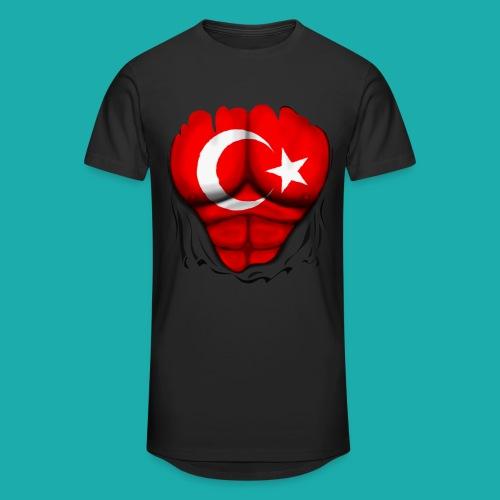 Turkey Flag Ripped Muscles, six pack, chest t-shirt - Men's Long Body Urban Tee