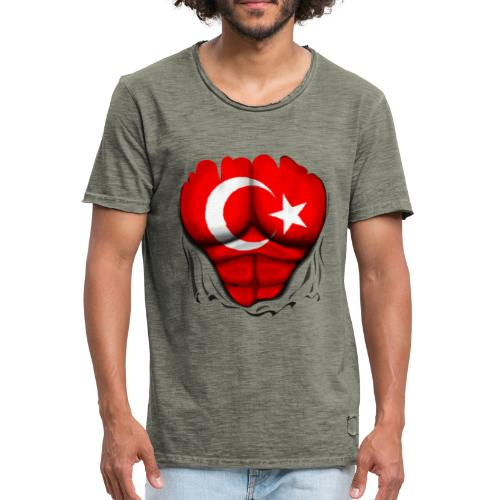 Turkey Flag Ripped Muscles, six pack, chest t-shirt - Men's Vintage T-Shirt