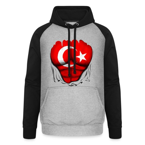 Turkey Flag Ripped Muscles, six pack, chest t-shirt - Unisex Baseball Hoodie