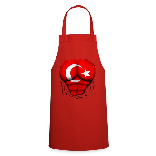 Turkey Flag Ripped Muscles, six pack, chest t-shirt - Cooking Apron