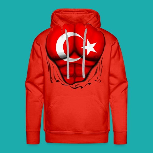 Turkey Flag Ripped Muscles, six pack, chest t-shirt - Men's Premium Hoodie