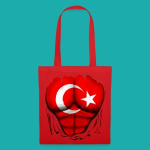 Turkey Flag Ripped Muscles, six pack, chest t-shirt - Tote Bag