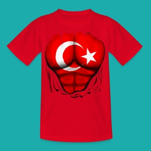 Turkey Flag Ripped Muscles, six pack, chest t-shirt - Kids' T-Shirt