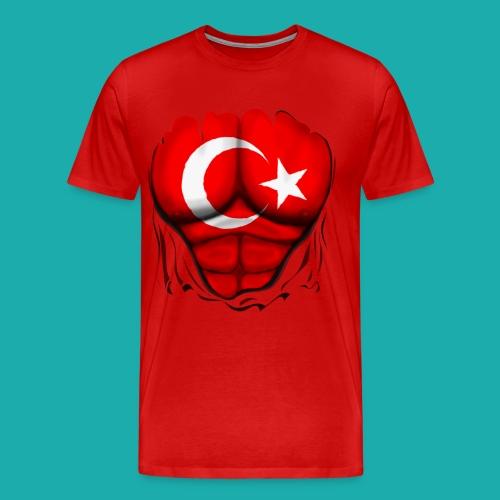 Turkey Flag Ripped Muscles, six pack, chest t-shirt - Men's Premium T-Shirt