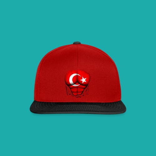 Turkey Flag Ripped Muscles, six pack, chest t-shirt - Snapback Cap
