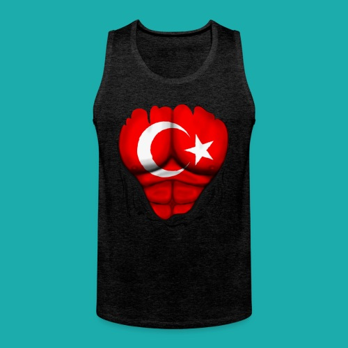 Turkey Flag Ripped Muscles, six pack, chest t-shirt - Men's Premium Tank Top