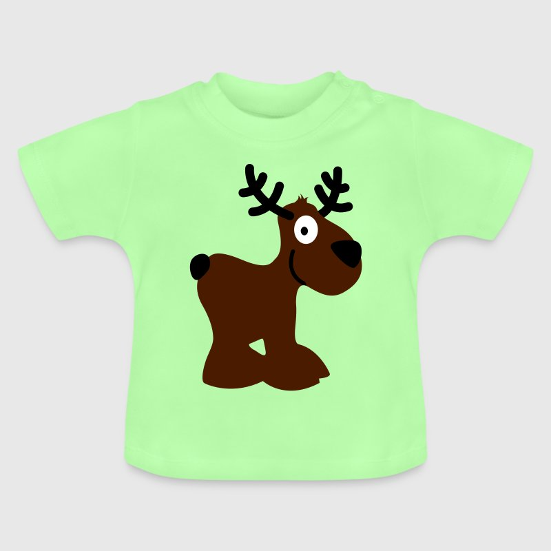 cute moose caribou reindeer deer christmas norway rudolph rudolf winter scandinavia canada smile eyes Baby Shirts  - Baby T-Shirt