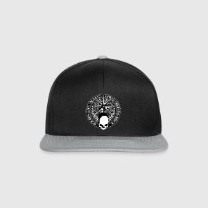 rock_and_roll_and_skull_and_pentagram_bw Camisetas - Gorra Snapback