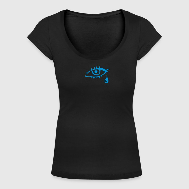 Eye, crying tears, mourning art, murderers, prison, jail, tough guys, teardrop tattoo, killer, love, relationship, separation, single T-Shirts - Women's Scoop Neck T-Shirt