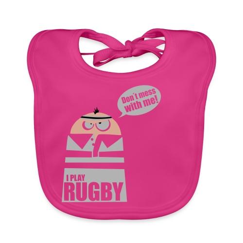 Männer T-Shirt Motiv: I play Rugby - Baby Bio-Lätzchen